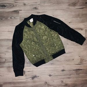 Ashely by 26 Intl. Green & Black Bomber Jacket